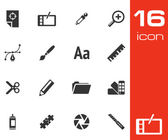 Vector black graphic design icons set — Stock vektor