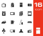 Vector black home appliances icon set on white background — Stock Vector