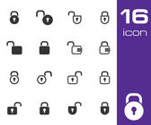 Vector black lock icons set — Stock Vector