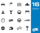 Vector black racing icons set — Stock Vector