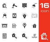 Vector black real estate icons set — Stock Vector