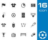 Vector black soccer icons set — Stock Vector