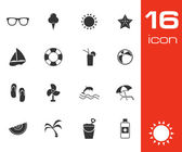 Vector black summer icons set — Stock Vector