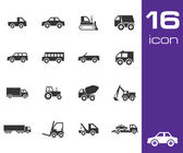Vector black vehicle icon set — Stock Vector