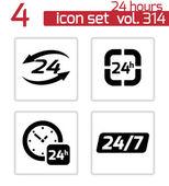 Vector black 24 hours icons set — Vecteur