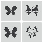 Vector black buttefly icons set — Stock Vector