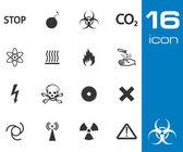 Vector black danger icons set on white background — Stock Vector