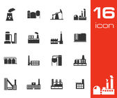 Vector black factory icons set — Stock Vector