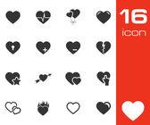 Vector black hearts icons set — Stock Vector
