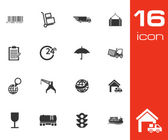 Vector Black Logistic Icons Set — Stock Vector