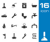Vector black plumbing icons set — Stock Vector