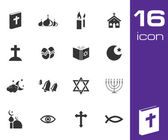 Vector black religion icons set — Stock Vector