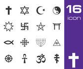 Vector black religious symbols set — Stock Vector