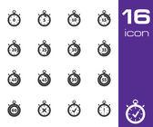 Vector black stopwatch icons set — Stock Vector