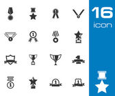 Vector black trophy and awards icons set — Stock Vector