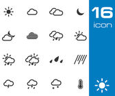 Vector black weather icons set — Stock Vector