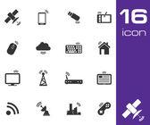 Conjunto de ícones sem fio vector preto — Vetor de Stock