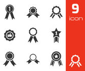 Vector black award medal icons set — Stock Vector