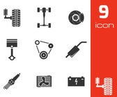 Vector black car parts icons set — Stock Vector