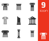 Vector black column icons set — Stock Vector
