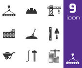 Vector black construction icons set — Stock Vector