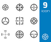Vector balck crosshair icons set — Stock Vector