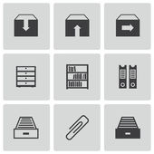 Vector black archive icons set — Stock Vector