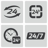 Vector black 24 hours icons set — Vector de stock
