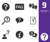 Vector black FAQ icons set — Stock Vector