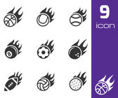 Vector black fire sport balls icons set — Stock Vector