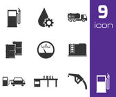 Vector black gas station icons set — Stock Vector