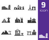 Vector black landmarks icons set — Stock Vector