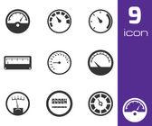 Vector black meter icons set — Stock Vector
