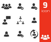 Vector black office people icons set — Stock Vector