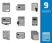 Vector black newspaper icons set — Stock Vector