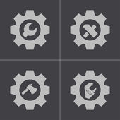 Vector black tools in gear icons set — Stock Vector