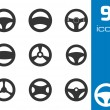 Vector black Steering wheels icons set — Stock Vector