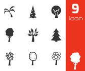 Vector black trees icons set — Stock Vector