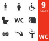 Vector black toilet icons set — Stock Vector