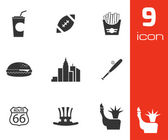 Vector black USA icons set — Stock Vector
