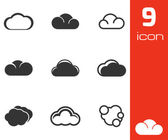 Vector black cloud icons set — Stock Vector