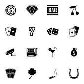 Noir casino icônes vector set — Vecteur