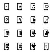 Vector black mobile icons set — Stock Vector