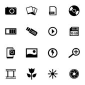 Vector black photo icon set — Stock Vector