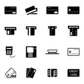 Jeu d'icônes vectorielles noirs crédit panier — Vecteur