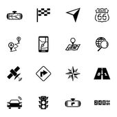 Vector black navigation icons set — Stock Vector