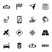 Vector black navigation icons set — Stock Vector