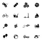 Vector black  toys  icons set — Stock Vector