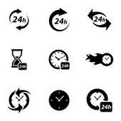 Vector black clock icons set — Stock Vector