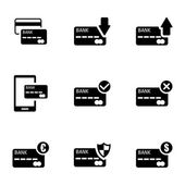 Vector black credit card icons set — Stock Vector